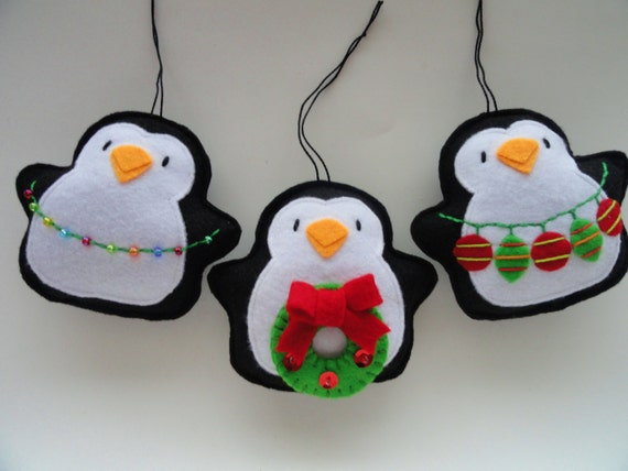 Tree Trimming Penguin Felt Ornaments-Felt By GingerSweetCrafts