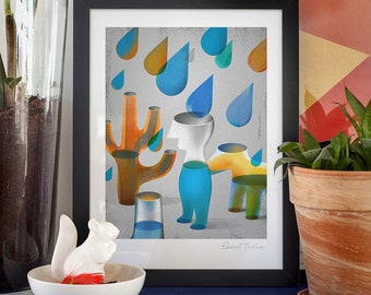 Soul in the cloud. Illustration art giclée print signed by the artist. 30x40cm.