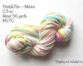 Handspun Yarn -- Merino -- Thick and Thin -- about 56 yards -- 2.3 oz