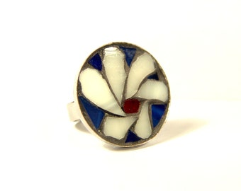 flower mosaic ring, stained glass jewelry, adjustable size ring, free shipping