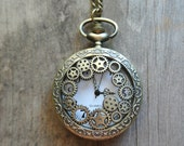 Steampunk Pocket Watch Necklace, Working Watch, Gears, Unisex, Fob also avail,Timepiece, Great Gift, More styles available By UPcycled Works