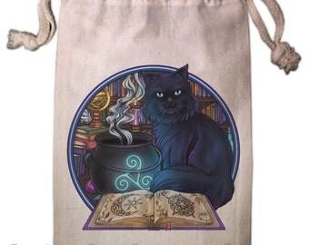 Celtic Familiar Magick Black Cat Tarot Bag -  Pagan Wiccan  - Brigid Ashwood