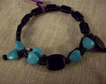 black and aqua memory wire bracelet