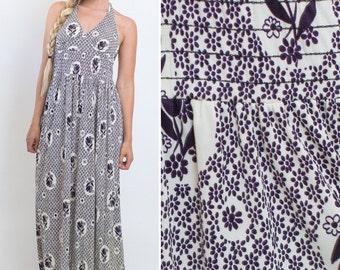 SALE Hippie maxi dress vintage 70s BOHO floral HALTER neck seventies purple 70s beachy 1970s hippie woodstock dress