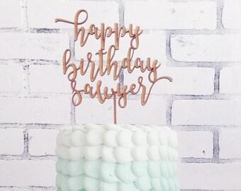 Happy Birthday Cake Topper, Custom Birthday Cake Topper, Custom Name Cake Topper, DIY Cake Topper