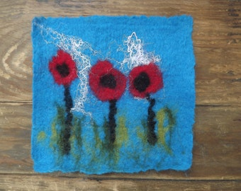 Hand Felted Poppy Picture/Fibre Art made using the wet felting technique.
