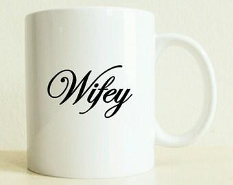 Wifey Mug | Unique Wedding Gift | Custom Bride Gift | New Couple Gift | Gifts for Her | Husband Gift | Summer Wedding | Proposal