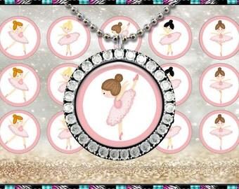 "Ballerina Cuties, Ballet, Dance - INSTANT DIGITAL DOWNLOAD - 1"" Bottlecap Craft Images (4x6) Digital Collage Sheet"
