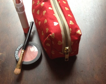 Red and Gold Heart Makeup Bag With Glod Metal Zipper