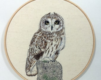 Textile art free machine embroidered, free motion embroidery, hoop art , short eared owl picture