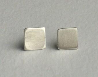 Silver square stud earrings
