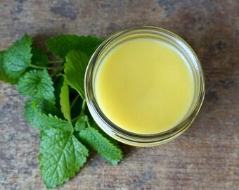 Organic Lemon Balm Lip Salve, Natural Lemon Balm Lip Balm, Gluten Free Lip Balm, Lemon Balm Herbal Lip Salve, Lemon Balm