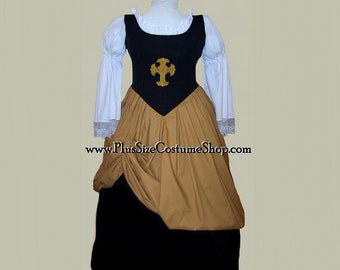 Plus Size Embroidered Bodice Renaissance Package Dress Gown - Gold Knotwork Cross Design - 5 pieces - NEW - 0X 1X 2X 3X 4X 5X