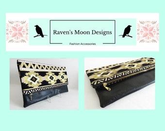 Foldover Clutch, Southwest Clutch, Aztec Clutch, Zippered Handbag, Fabric Handbag, Ipad Case, Gift For Her