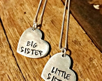 Sister necklace set, big sister little sister necklace set, childrens matching necklace gift set, big sis little sis, sisters, set of 2