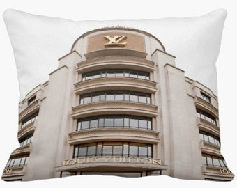 Luis Vuitton Art Pillow Case, Louis Vuitton Pillow, Paris Pillow Case, Paris Monogram, Louis Vuitton Photography, Dorm Decor, Dorm Pillow