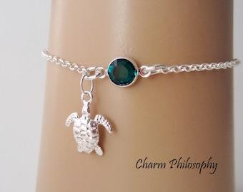 Sea Turtle Birthstone Bracelet or Anklet - Personalized Birthstone Bracelet - 925 Sterling Silver - Rolo Chain - Dainty Minimalist Bracelet