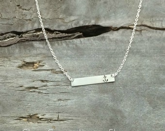 """READY TO SHIP!  Bar Necklace with Anchor - Includes Sterling Chain - 18/19"""" - Hand Stamped Jewelry"""