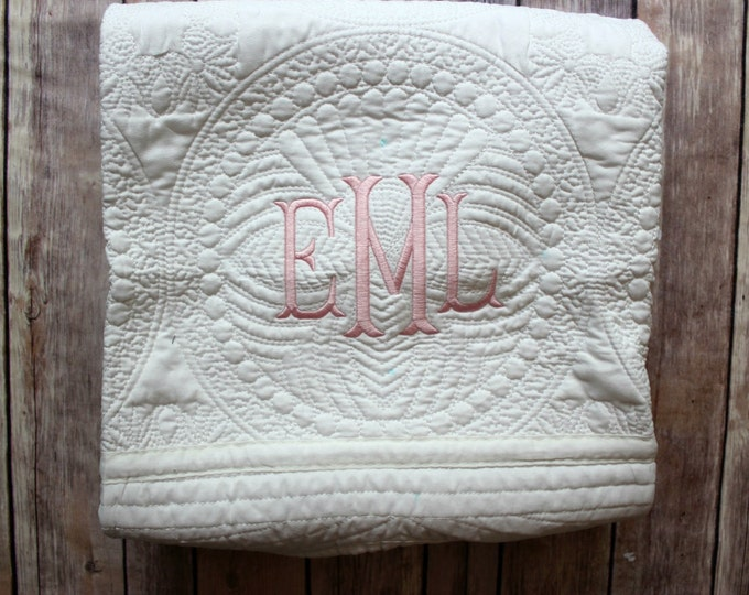 Monogrammed Baby Quilt, Personalized Baby Blanket, Personalized Baby Quilt, Monogrammed Baby Blanket, New Baby, Baby Girl Quilt, Blanket