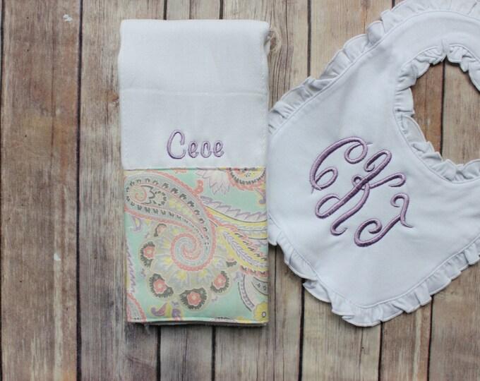 Baby Girl Burp Cloth, Monogrammed Ruffled Bib, Personalized Girl Burp Cloth, Monogram Baby, Personalized Baby Shower Gift, Paisley Purple