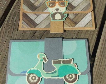 Set of Two Dog and Scooter Pop-up Gift Card Holders