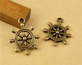 60 Rudder Charms, 19mm Brass Tone Sailing Helm Pendants A2128