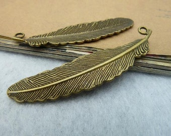 30 Feather Charms, 52x12MM Brass / Silver Tone Feather Pendants A2948