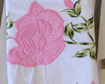 Vintage Stitched Pillowcase Standard Pink Rose Floral Pillow Cover Shabby Chic Linen Home Decor Home Living Bedding by picadillymarket