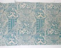 Vintage Lee Behren Teal Peacock Floral Toile Fabric 33x20