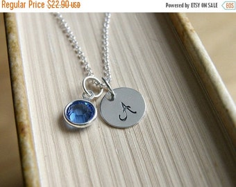 SALE Personalized necklace, Sterling Silver Initial Necklace, Hand Stamped Necklace, Birthstone Necklace,Personalized Jewelry Bridesmaid Nec