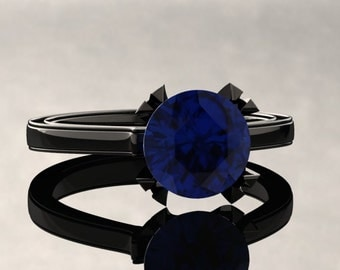 Blue Sapphire Engagement Ring Blue Sapphire Ring 14k or 18k Black Gold Matching Wedding Band Available W17BUBK