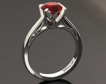 Ruby Engagement Ring Ruby Ring 14k or 18k White Gold Matching Wedding Band Available W3RUBYW