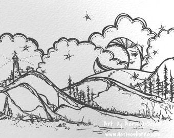 Dreamy Moon Stars Art Print, Original Illustration Ink Pen Drawing by Aeris Osborne, Note Card, Gift Idea, Wall Art, Home Decor, 5 x 7 in