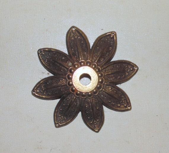 Vintage 8 Prism Hole Gold Metal Lamp Chandelier Bobeche