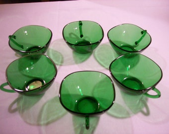 Vereco France Green Tempered Glass Cups Set of 6
