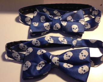 Skull silk bow tie