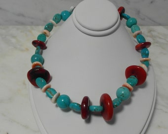 Wonderful Native American Turquoise and Red Noble Coral Necklace