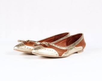 Gold and Brown Leather ballerinas // Golden pointy soft flats //  Leather Ballet flats