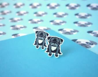 Black Pug Earrings, Pug stud Earrings, Pug gift, Pug jewellery