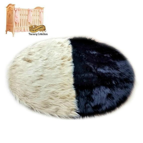Two Tone Round Faux Sheepskin Rug Shaggy Accent By FurAccents