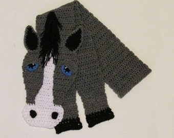 Crochet Scarf, Horse Gifts For Girls, Grey Horse Scarf, Horse Lover Gift, Character Scarf, Gray Horse, Fun Animal Scarf
