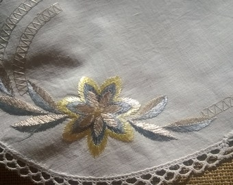 Antique Silk Flowers Doily Off White French Cotton Lace Trimmed Oval Shape Gold Silver Hand Embroidered Sewing Assemblage #SophieLadyDeParis