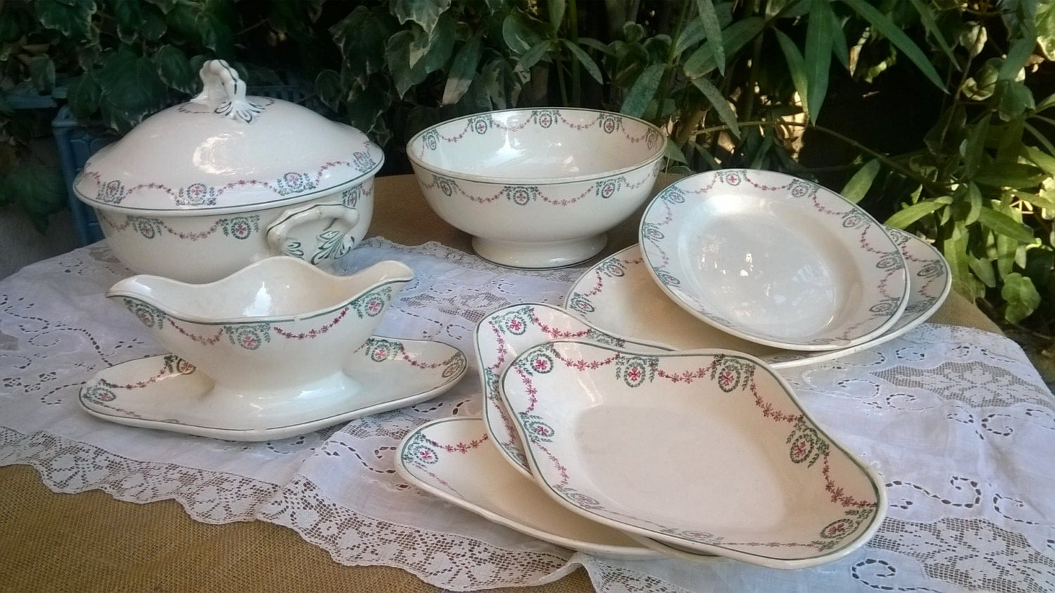 Dinnerware Set French Empire Style Stencil Porcelain Soup
