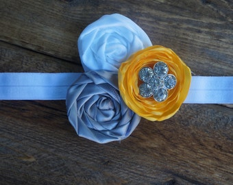 Yellow, white, and grey rosette headband