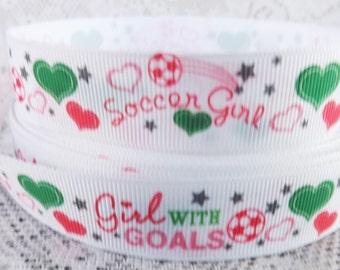Soccer girl ribbon 7/8 Soccer girl grosgrain ribbon