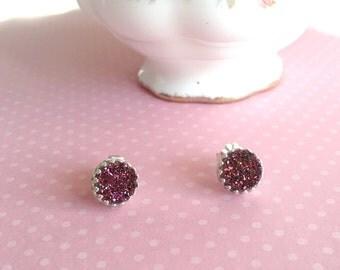 Magenta Druzy Earrings | Burgundy Druzy Studs | Red Druzy Stud Earrings | Druzy Quartz | Sterling Silver Druzy Post Earrings | Stone Earring