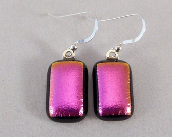 SALE! Pink and Black Dichroic Fused Glass Dangle Earrings, Fused Glass, Fused Glass Earrings, Dichroic Earrings, Dangle Earrings, Dichroic