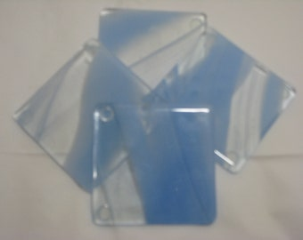Blue and Light Blue 4X4 Fused Glass Coasters - Set of 4