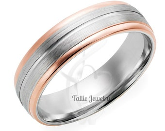 Mens Wedding Rings,10K Gold Two Tone Wedding Rings,Womens Wedding Rings,Matching Wedding Bands,His & Hers Rings,Rose Gold Wedding Bands