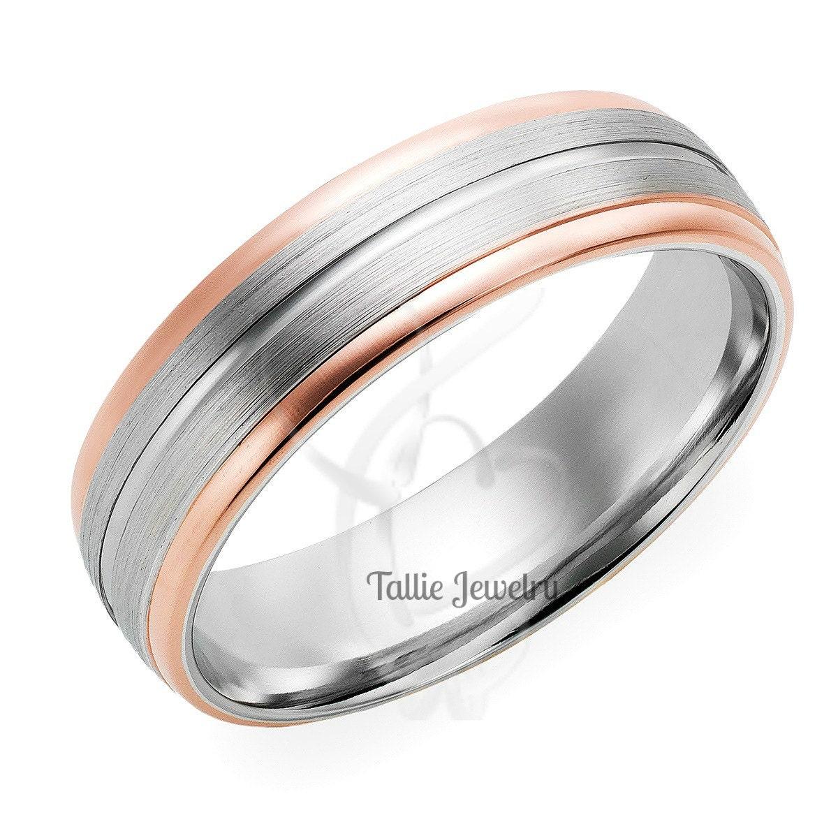 mens wedding rings,14k gold two tone wedding rings,womens wedding